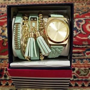 Accessories - NIB gorgeous aqua colored watch and bracelets set.